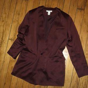 H and m silk burgundy long blazer